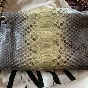 Fabulous Prada Snakeskin Bag - Grey and yellow